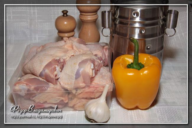 Куриный рулет с чесноком и болгарским перцем. В ветчиннице «Белобока».