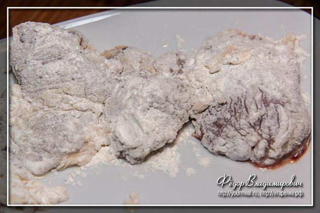 Куриная печень в хрустящей панировке, маринованная в соевом соусе