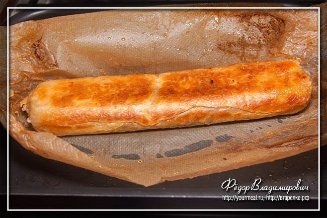 Рулет с баклажаном, кабачком и сыром