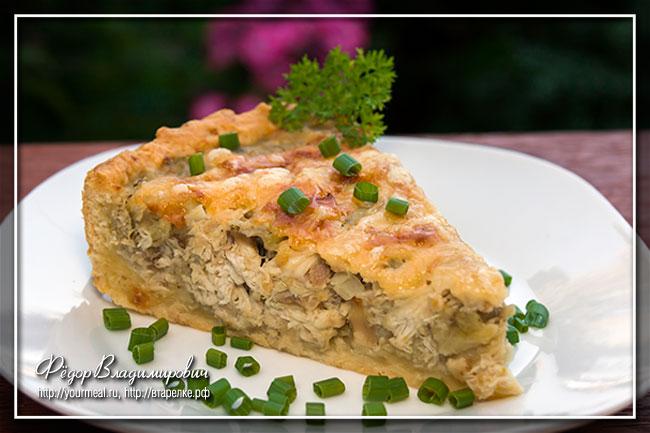 Пирог с курицей и баклажанами