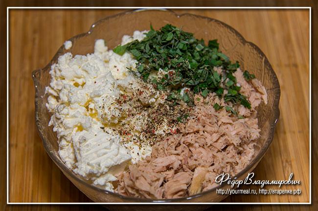 Дип из тунца и сливочного сыра с мятой