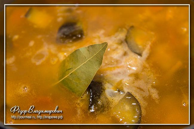Суп из чечевицы с баклажанами