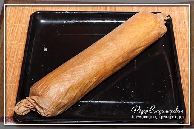 Картофельный рулет с ветчиной