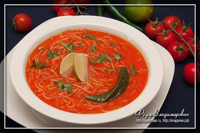 Мексиканский вермишелевый суп ( sopa de fideo )