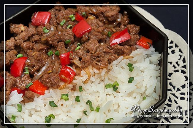 Мясной фарш с рисом. Сычуаньская кухня.