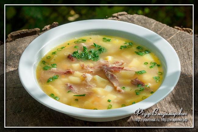 Гороховый суп на копченых ребрах
