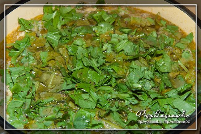 Зеленые щи из щавеля с фрикадельками