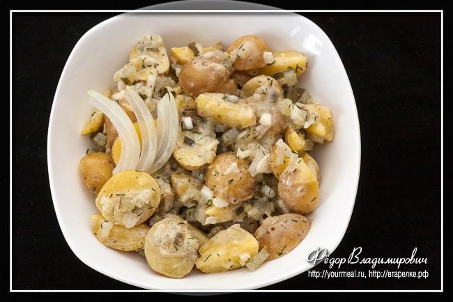 Салат из картофеля с солеными огурцами