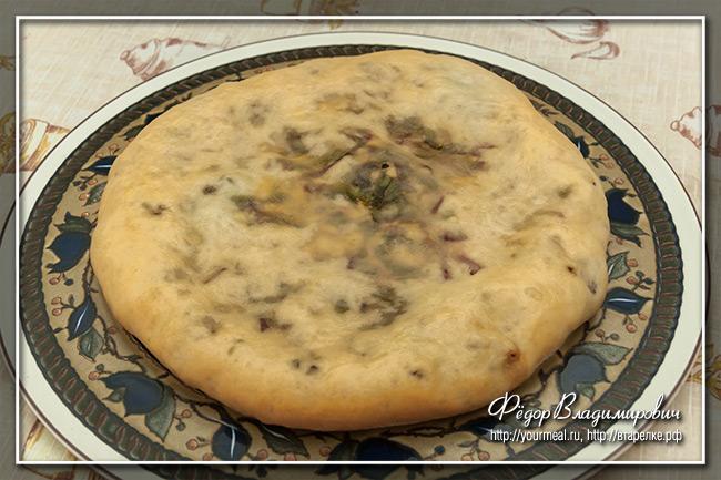 Осетинский пирог с сыром и свекольной ботвой Цахараджын