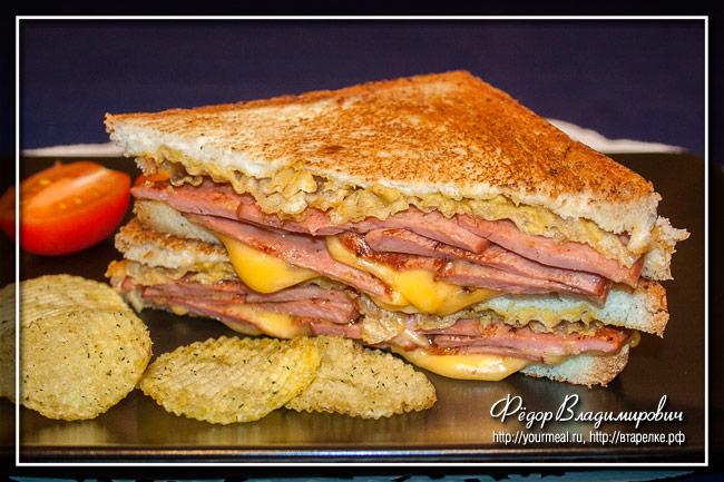 Знаменитый арканзасский сэндвич с жареной колбасой - Arkansas Fried Bologna sandwich