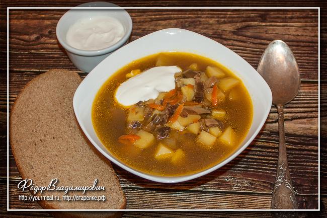 Классический суп из сушеных грибов